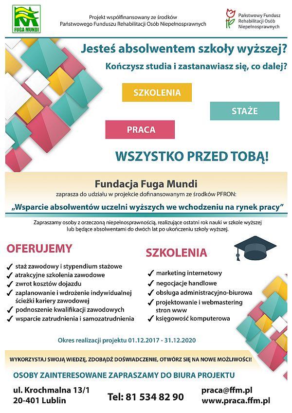 plakat - Wsparcie absolwentów uczelni wyzszych