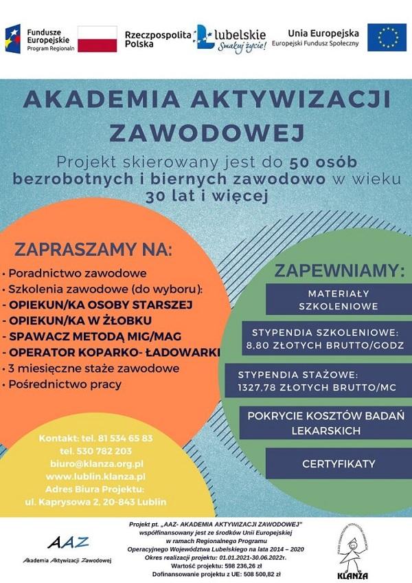 Plakat promujący projekt AAZ - Akademia Aktywizacji Zawodowej